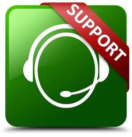Support (customer care icon) green square button