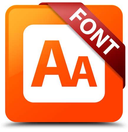 small size: Font orange square button Stock Photo