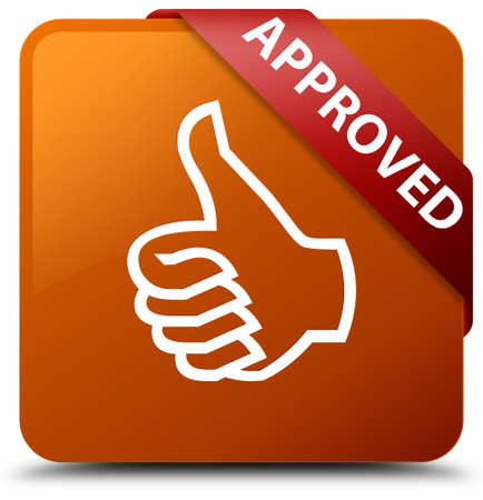 Approved (thumbs up icon) brown square button