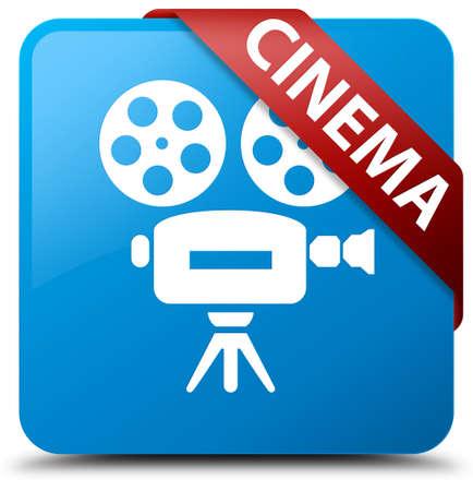 cinematographic: Cinema (video camera icon) cyan blue square button Stock Photo