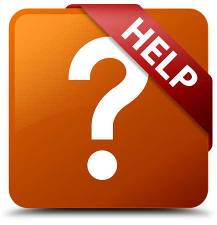 square button: Help (question icon) brown square button Stock Photo