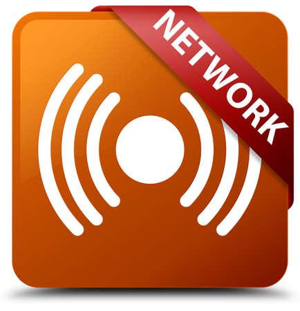 Network (signal icon) brown square button Stock Photo
