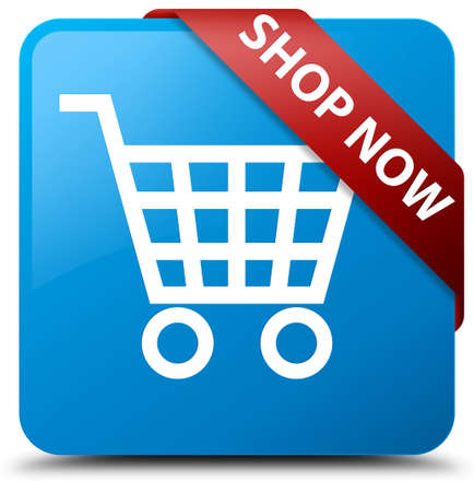 Shop now cyan blue square button Stock Photo