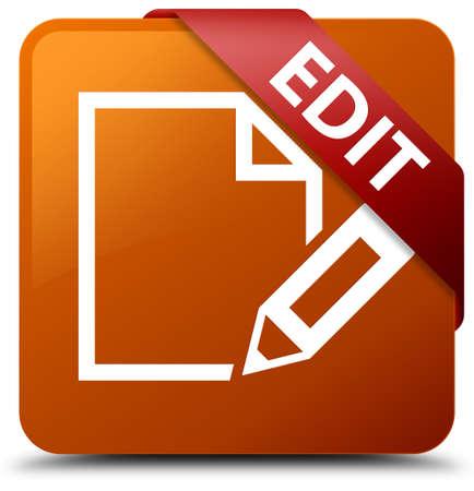 square button: Edit brown square button Stock Photo