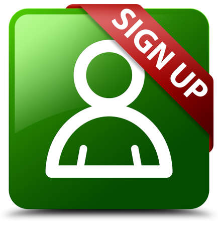 sign up: Sign up (member icon) green square button