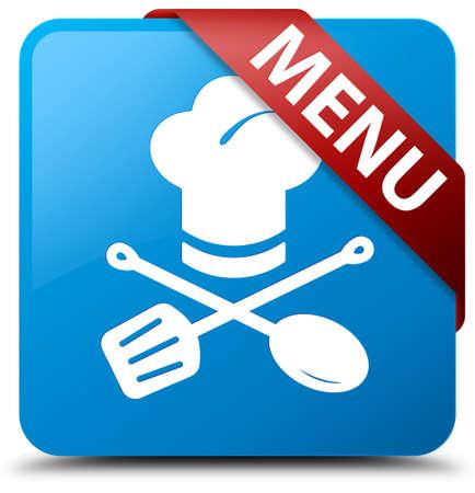 Menu (restaurant icon) cyan blue square button