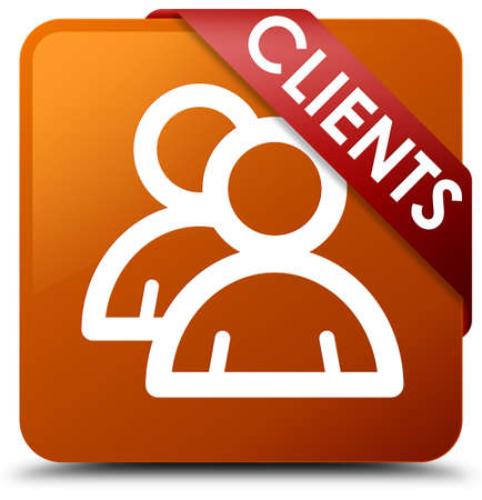 testimonials: Clients (group icon) brown square button Stock Photo