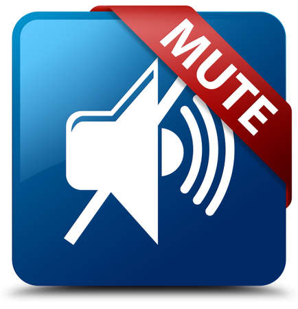 Mute blue square button