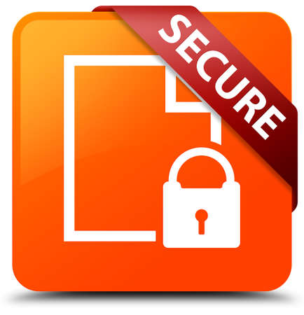 Secure (document page padlock icon) orange square button
