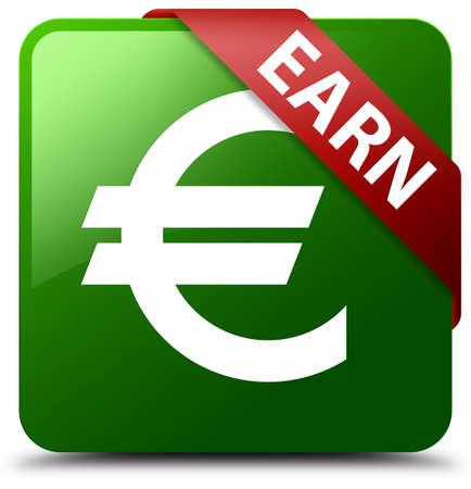 earn: Earn (euro sign) green square button Stock Photo