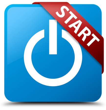 blue button: Start (power icon) cyan blue square button Stock Photo