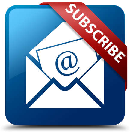 Subscribe (newsletter email icon) blue square button Stock Photo