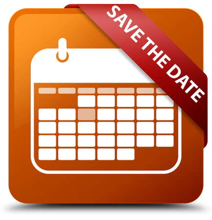 Save the date brown square button