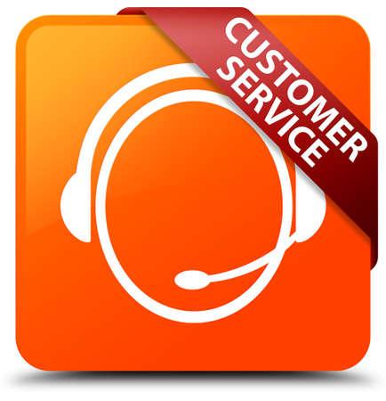 Customer service (customer care icon) orange square button