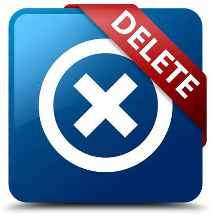 Delete blue square button Stock Photo
