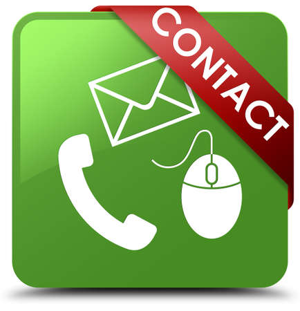 Contact (phone, email and mouse icon) soft green square button Stock Photo
