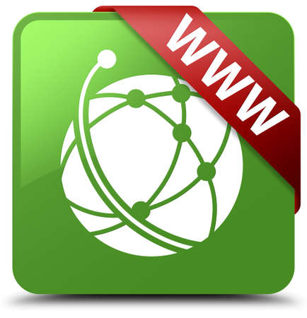 WWW (global network icon) soft green square button Stock Photo