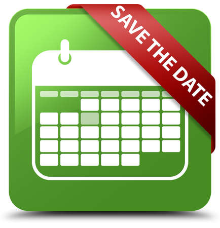 Save the date soft green square button
