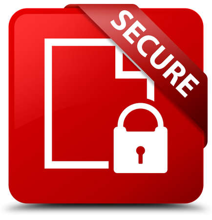 key hole shape: Secure (document page padlock icon) red square button