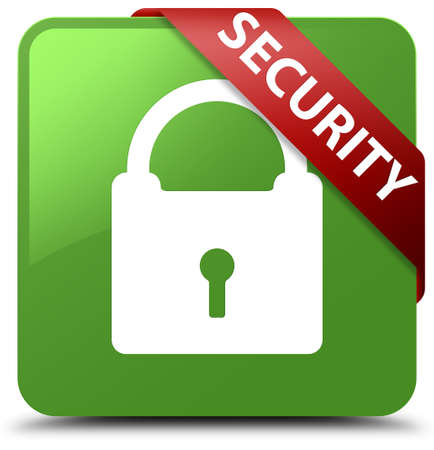 Security (padlock icon) soft green square button Stock Photo