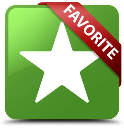Favorite (star icon) soft green square button Stock Photo