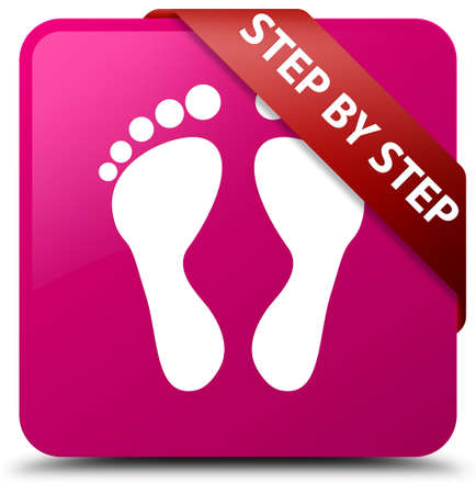 Step by step (footprint icon) pink square button Stock Photo