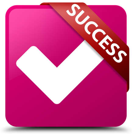 validate: Success (validate icon) pink square button Stock Photo