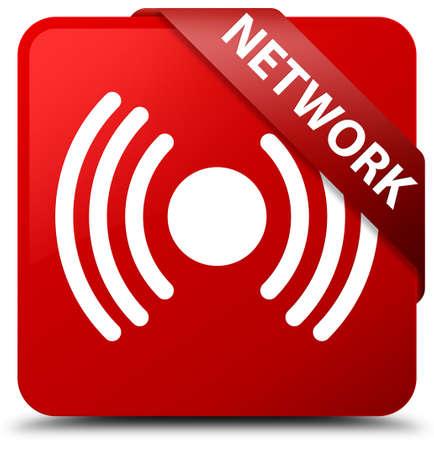 Network (signal icon) red square button Stock Photo
