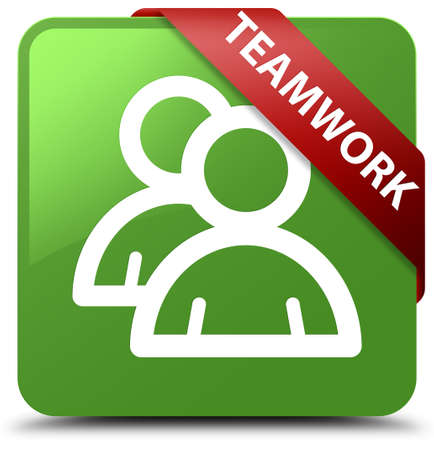 Teamwork (group icon) soft green square button