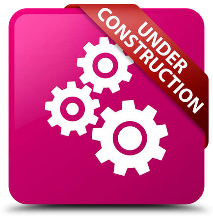 Under construction (gears icon) pink square button Stock Photo