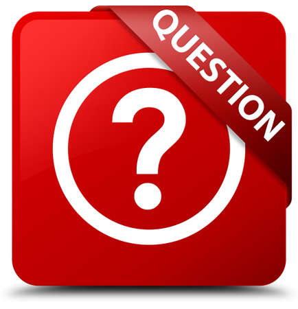 Question red square button Stock Photo