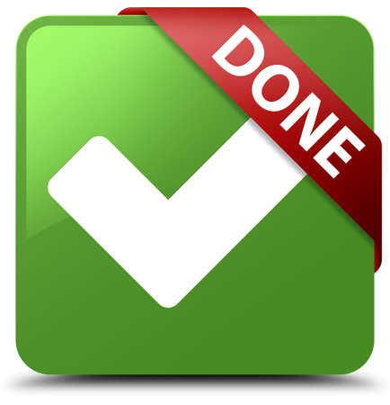 validate: Done (validate icon) soft green square button Stock Photo