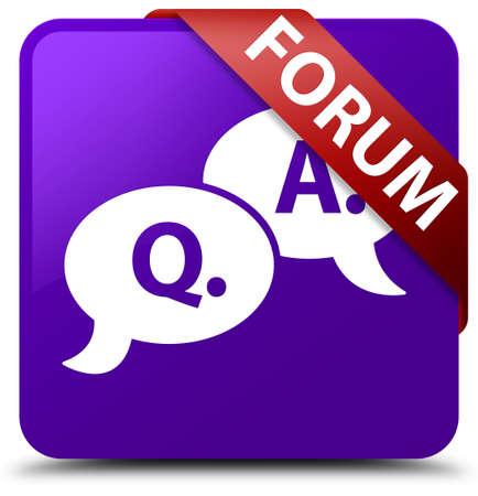 question and answer: Forum (question answer bubble icon) purple square button