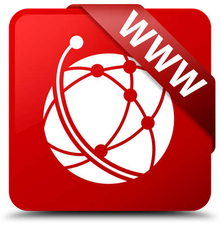 WWW (global network icon) red square button Stock Photo