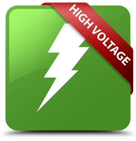 high voltage symbol: High voltage (electricity icon) soft green square button Stock Photo