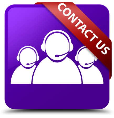 Contact us (customer care team icon) purple square button Stock Photo