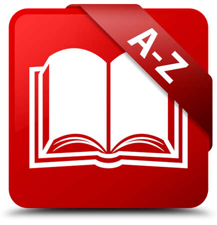 A-Z (book icon) red square button Stock Photo