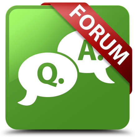 Forum (question answer bubble icon) soft green square button Stock Photo