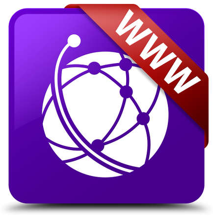 http: WWW (global network icon) purple square button Stock Photo