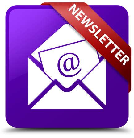 Newsletter purple square button Stock Photo