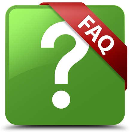 Faq (question icon) soft green square button