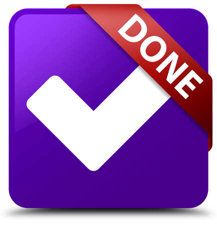 validate: Done (validate icon) purple square button Stock Photo