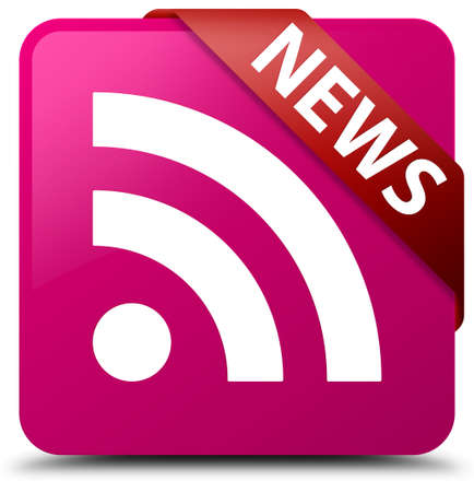 News (RSS icon) pink square button Stock Photo