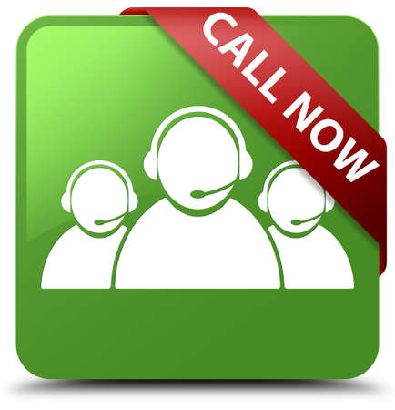 Call now (customer care team icon) soft green square button Stock Photo