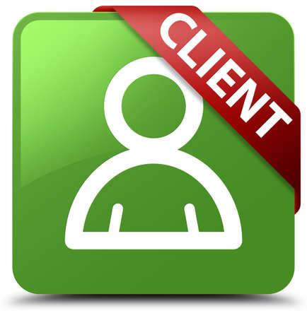 man profile: Client (member icon) soft green square button
