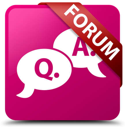 Forum (question answer bubble icon) pink square button