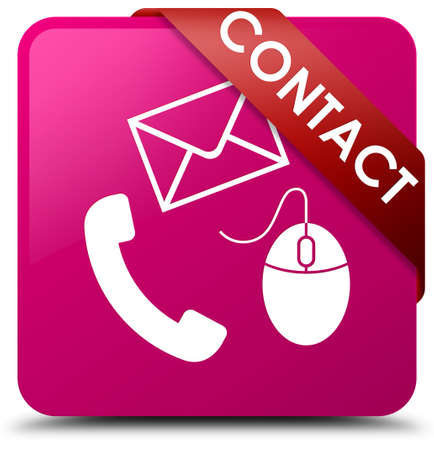 Contact (phone, email and mouse icon) pink square button