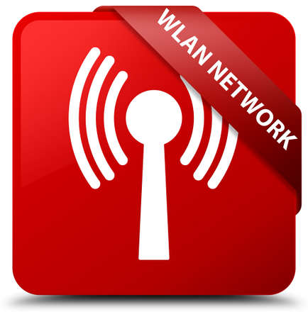 Wlan network red square button Stock Photo
