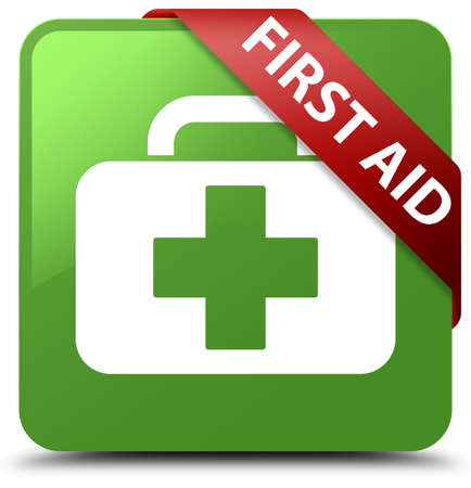 medical symbol: First aid soft green square button Stock Photo