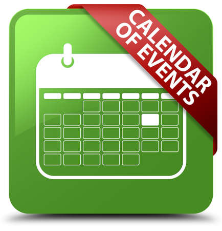 event planner: Calendar of events soft green square button